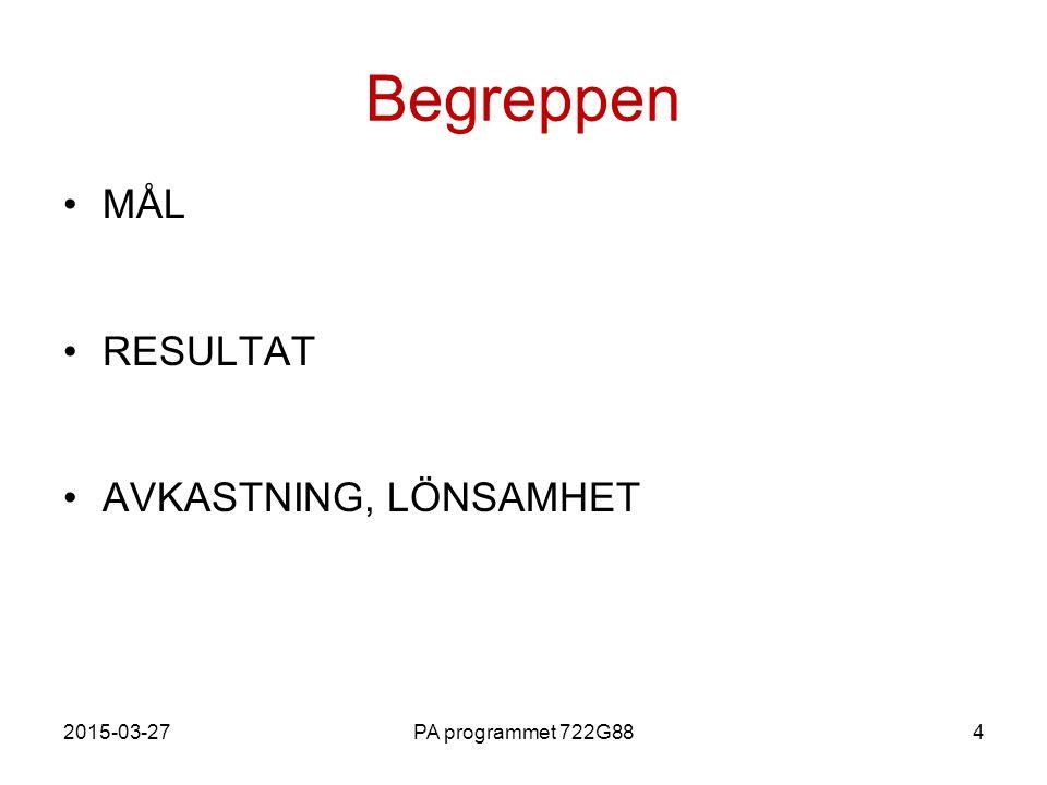 2015-03-27PA programmet 722G884 Begreppen MÅL RESULTAT AVKASTNING, LÖNSAMHET