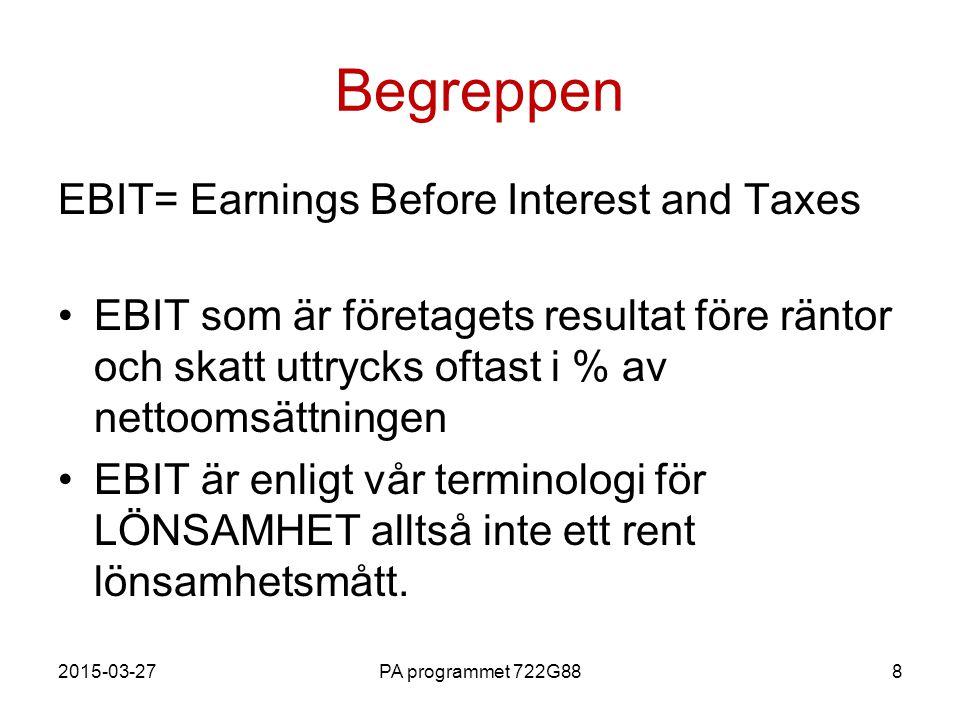 2015-03-27PA programmet 722G888 Begreppen EBIT= Earnings Before Interest and Taxes EBIT som är företagets resultat före räntor och skatt uttrycks ofta