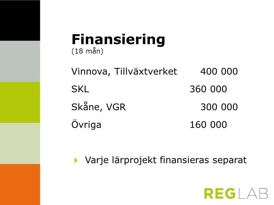 Finansiering (18 mån) Vinnova, Tillväxtverket 400 000 SKL 360 000 Skåne, VGR300 000 Övriga 160 000  Varje lärprojekt finansieras separat