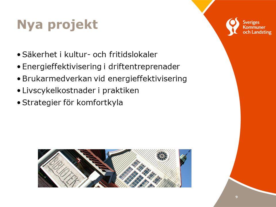 9 Nya projekt Säkerhet i kultur- och fritidslokaler Energieffektivisering i driftentreprenader Brukarmedverkan vid energieffektivisering Livscykelkostnader i praktiken Strategier för komfortkyla