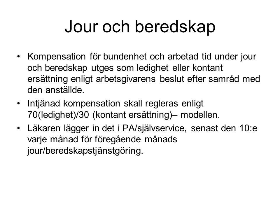 Jour och beredskap Kompensation för bundenhet och arbetad tid under jour och beredskap utges som ledighet eller kontant ersättning enligt arbetsgivare