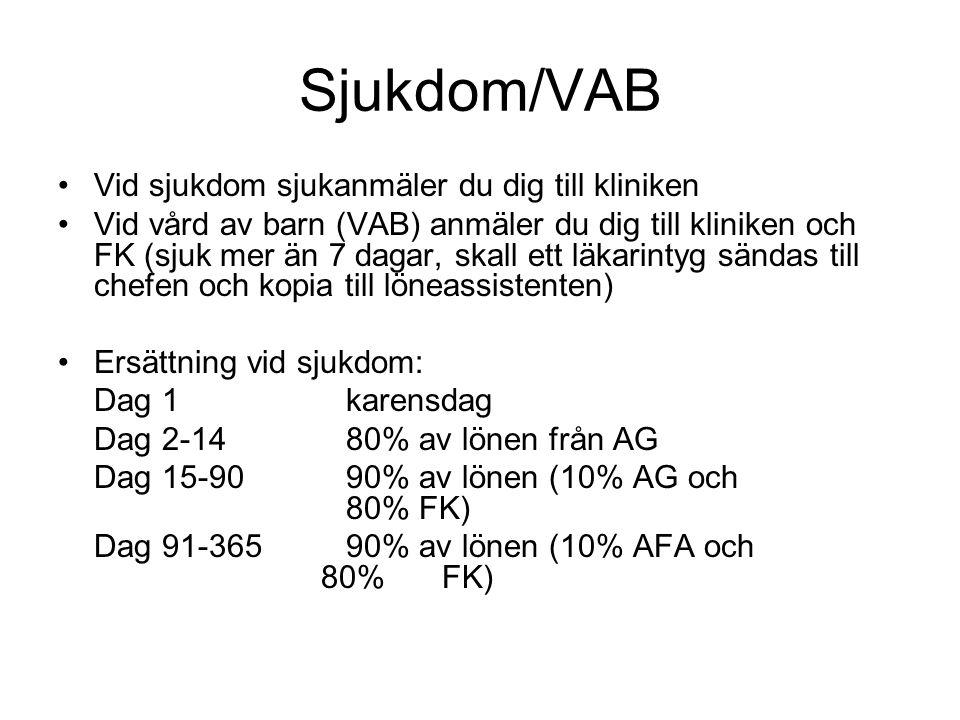 Sjukdom/VAB Vid sjukdom sjukanmäler du dig till kliniken Vid vård av barn (VAB) anmäler du dig till kliniken och FK (sjuk mer än 7 dagar, skall ett lä