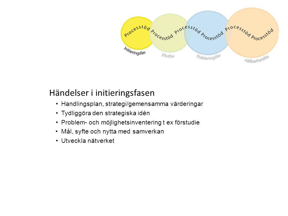 Händelser i initieringsfasen Handlingsplan, strategi/gemensamma värderingar Tydliggöra den strategiska idén Problem- och möjlighetsinventering t ex fö
