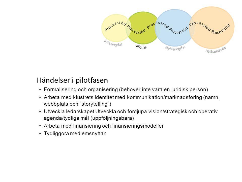 Händelser i pilotfasen Formalisering och organisering (behöver inte vara en juridisk person) Arbeta med klustrets identitet med kommunikation/marknads