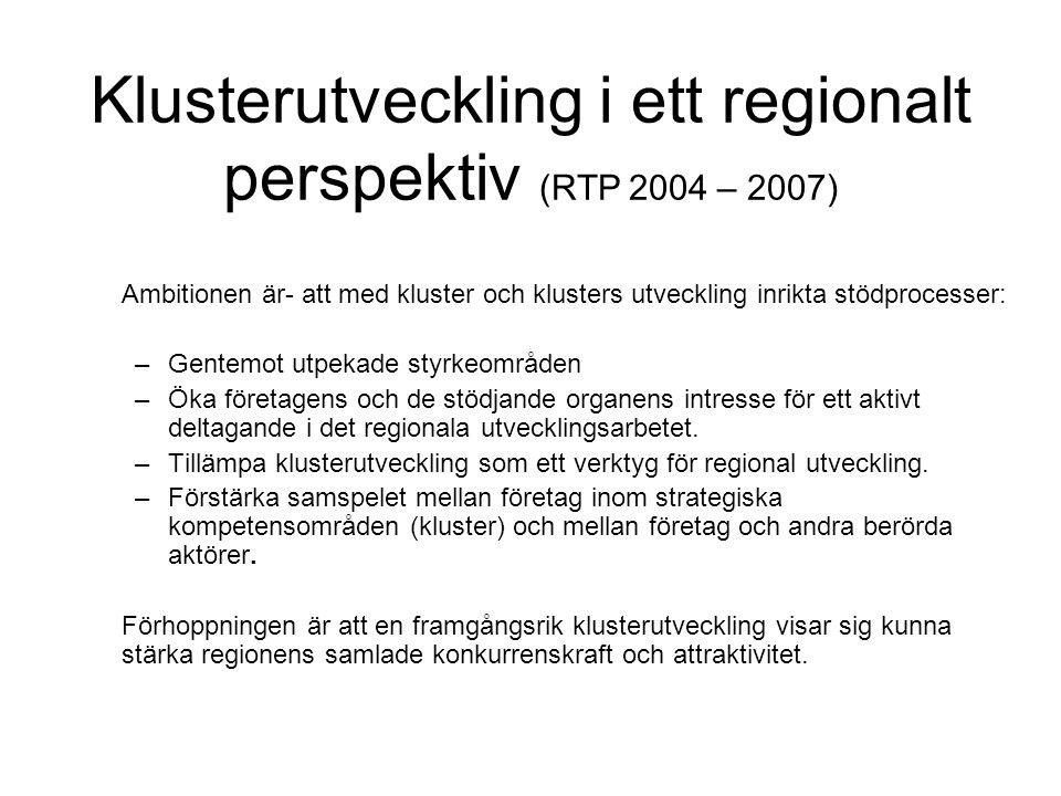 Klusterutveckling i ett regionalt perspektiv (RTP 2004 – 2007) Ambitionen är- att med kluster och klusters utveckling inrikta stödprocesser: –Gentemot