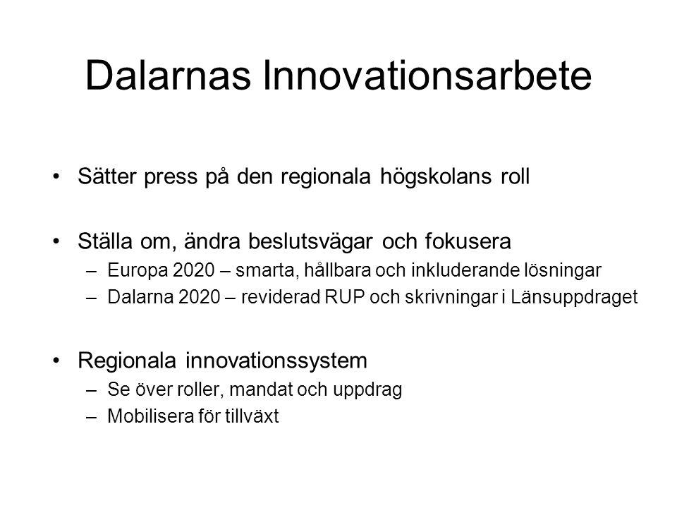 Dalarnas Innovationsarbete Sätter press på den regionala högskolans roll Ställa om, ändra beslutsvägar och fokusera –Europa 2020 – smarta, hållbara oc