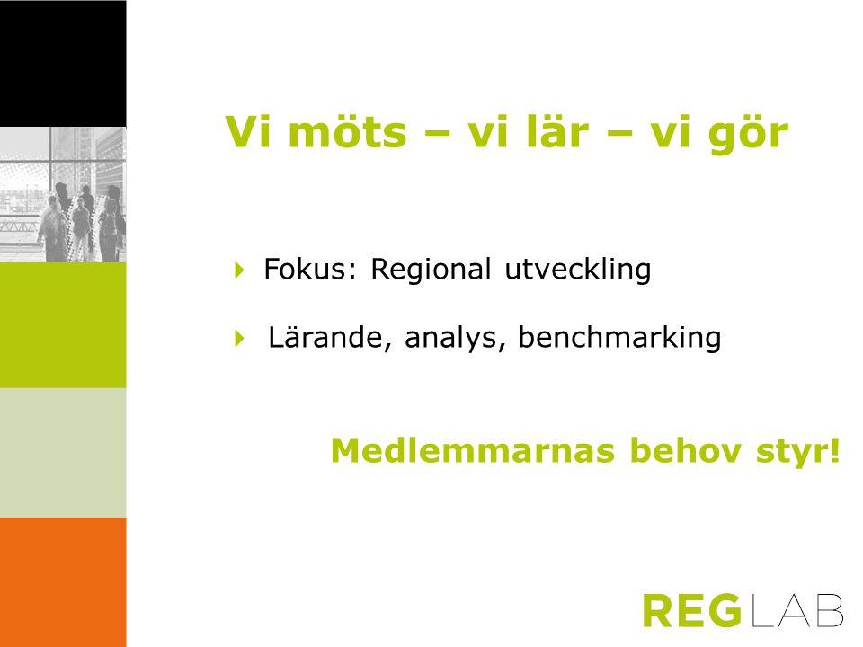 Vi möts – vi lär – vi gör  Fokus: Regional utveckling  Lärande, analys, benchmarking Medlemmarnas behov styr!
