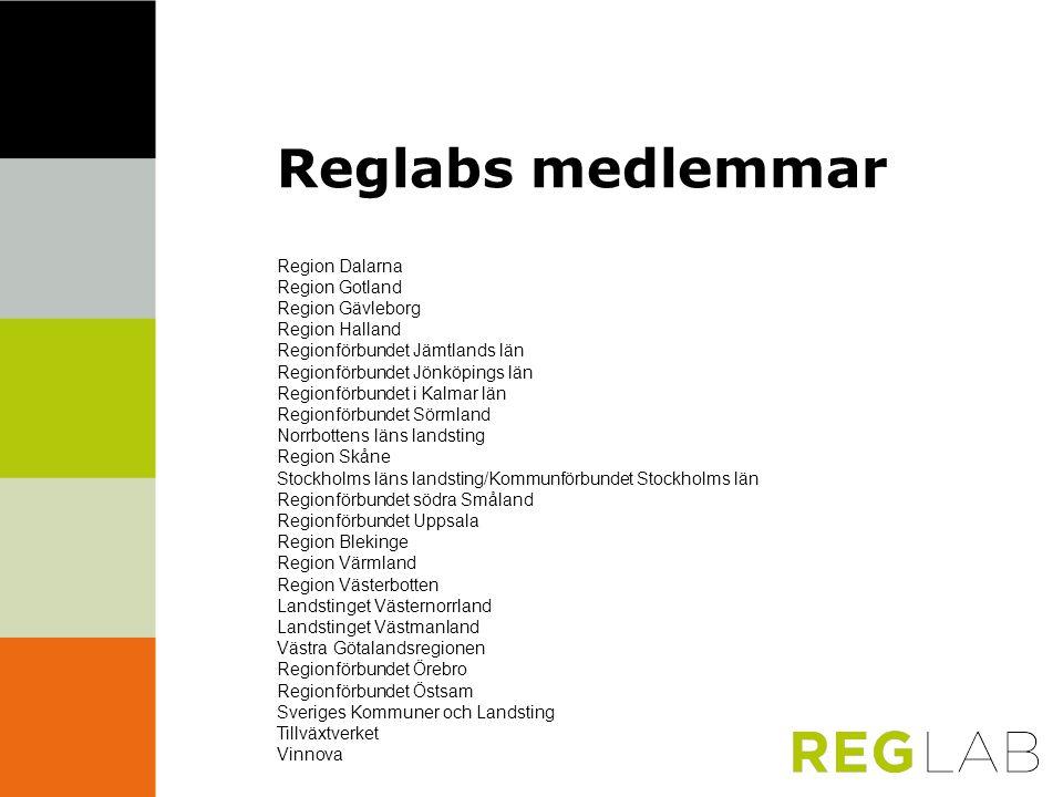 Reglabs medlemmar Region Dalarna Region Gotland Region Gävleborg Region Halland Regionförbundet Jämtlands län Regionförbundet Jönköpings län Regionför