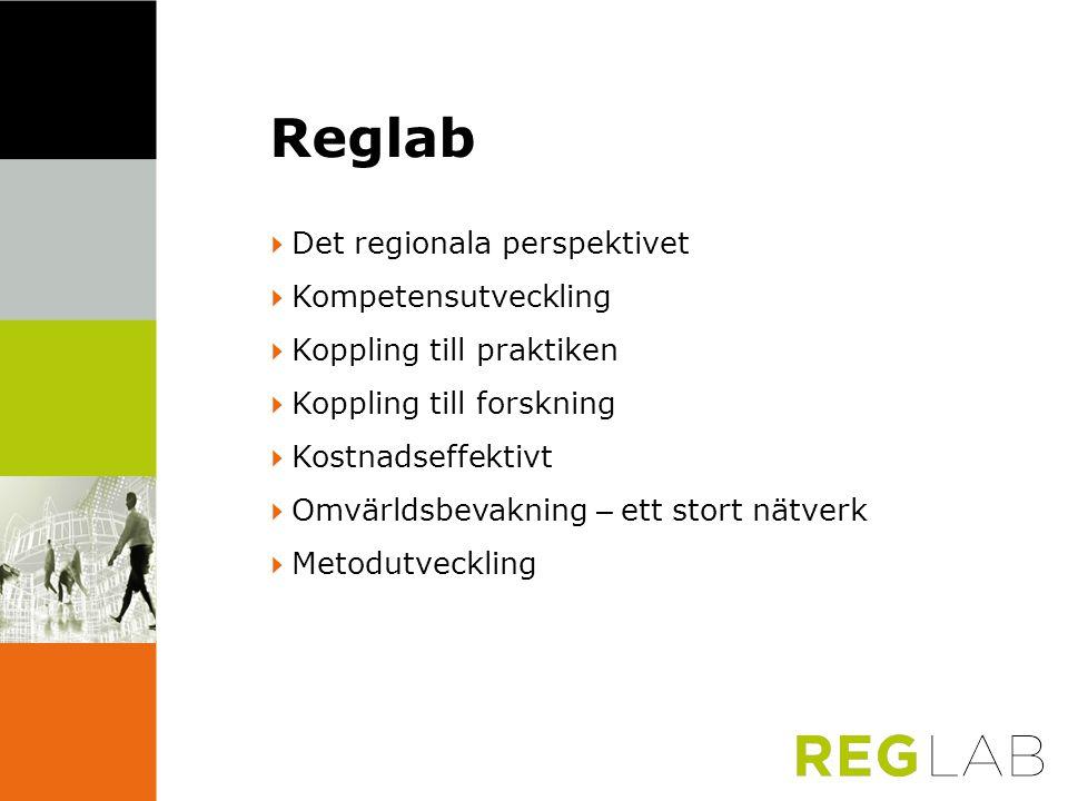Reglab  Det regionala perspektivet  Kompetensutveckling  Koppling till praktiken  Koppling till forskning  Kostnadseffektivt  Omvärldsbevakning