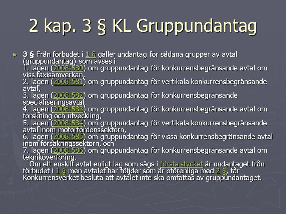 2 kap. 3 § KL Gruppundantag ► 3 § Från förbudet i 1 § gäller undantag för sådana grupper av avtal (gruppundantag) som avses i 1. lagen (2008:580) om g