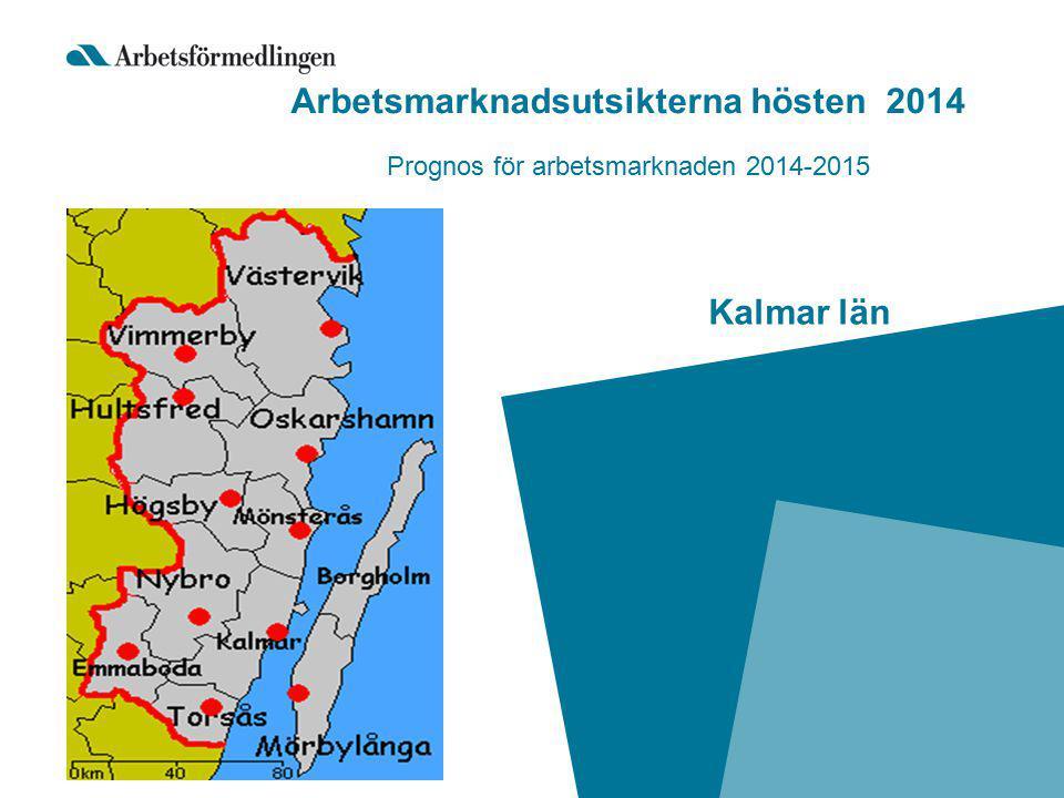 Arbetsmarknadsprognos hösten 2014 Arbetsmarknadsprognosen 2 gånger per år (riksprognos + 21 länsprognoser) 498 privata arbetsställen i Kalmar län, svarsfrekvens 73,7%.