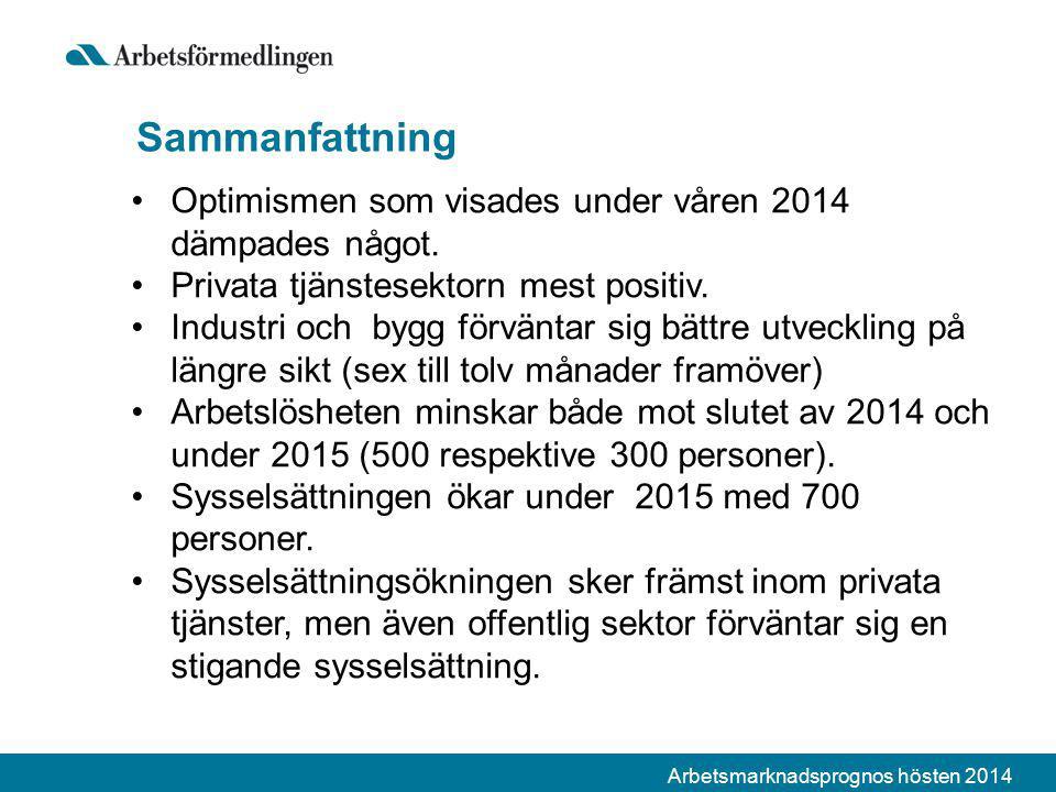Arbetsmarknadsprognos hösten 2014 Sammanfattning Optimismen som visades under våren 2014 dämpades något. Privata tjänstesektorn mest positiv. Industri