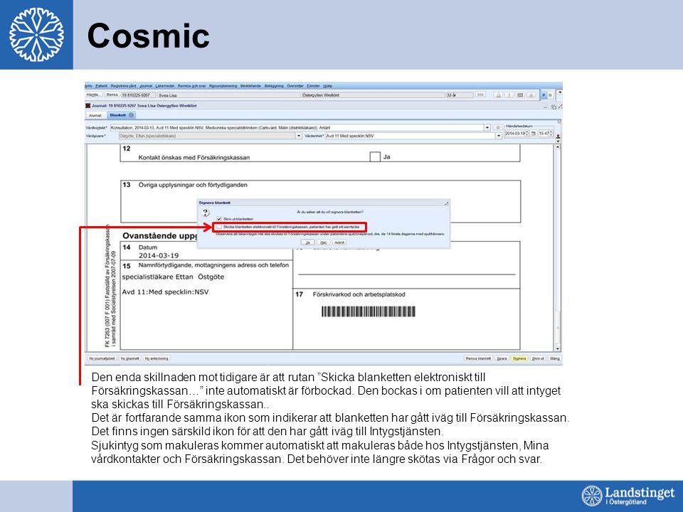 """Cosmic Den enda skillnaden mot tidigare är att rutan """"Skicka blanketten elektroniskt till Försäkringskassan…"""" inte automatiskt är förbockad. Den bocka"""