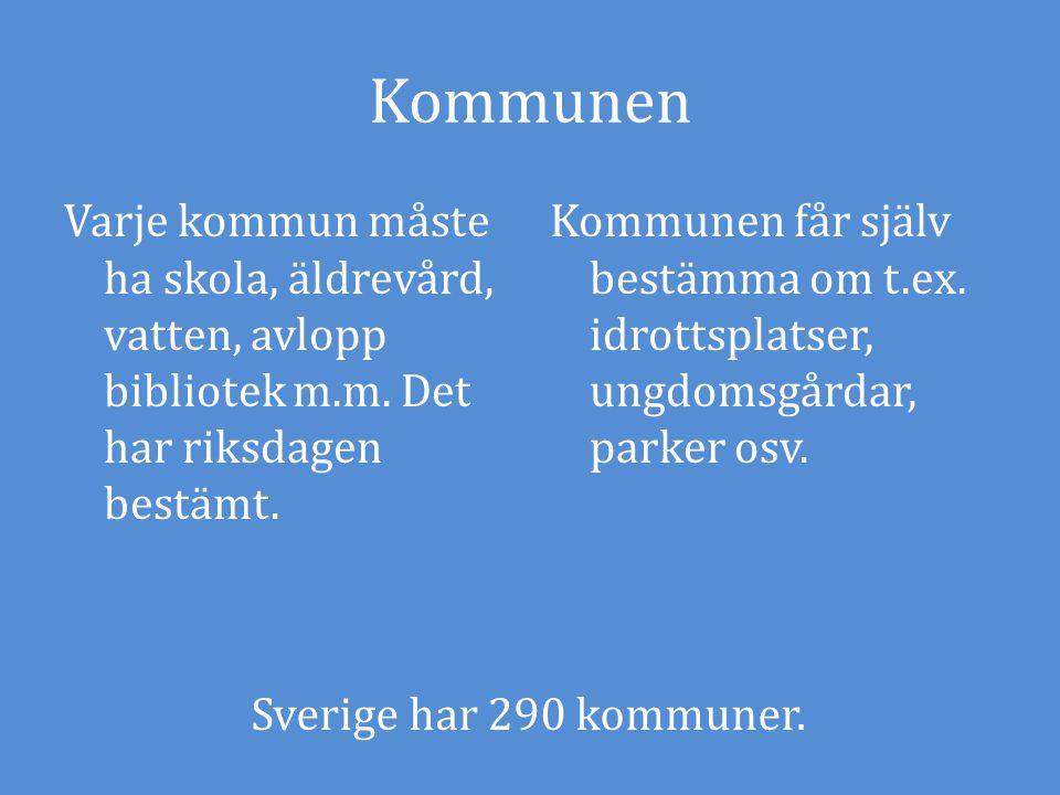 Kommunen Varje kommun måste ha skola, äldrevård, vatten, avlopp bibliotek m.m.