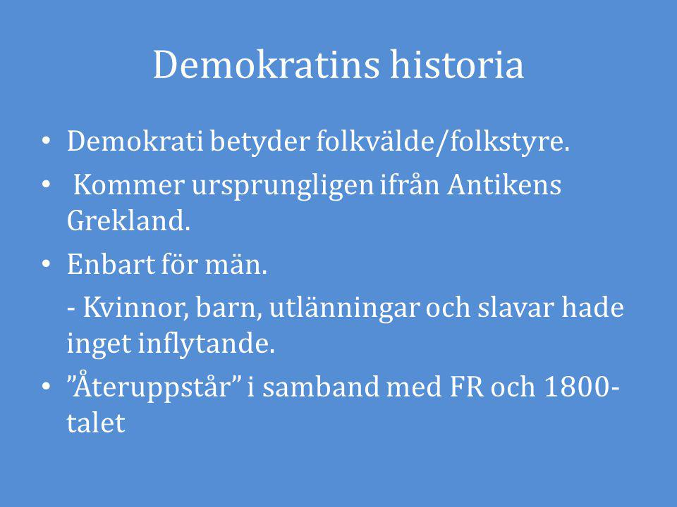 Demokratins historia Demokrati betyder folkvälde/folkstyre. Kommer ursprungligen ifrån Antikens Grekland. Enbart för män. - Kvinnor, barn, utlänningar