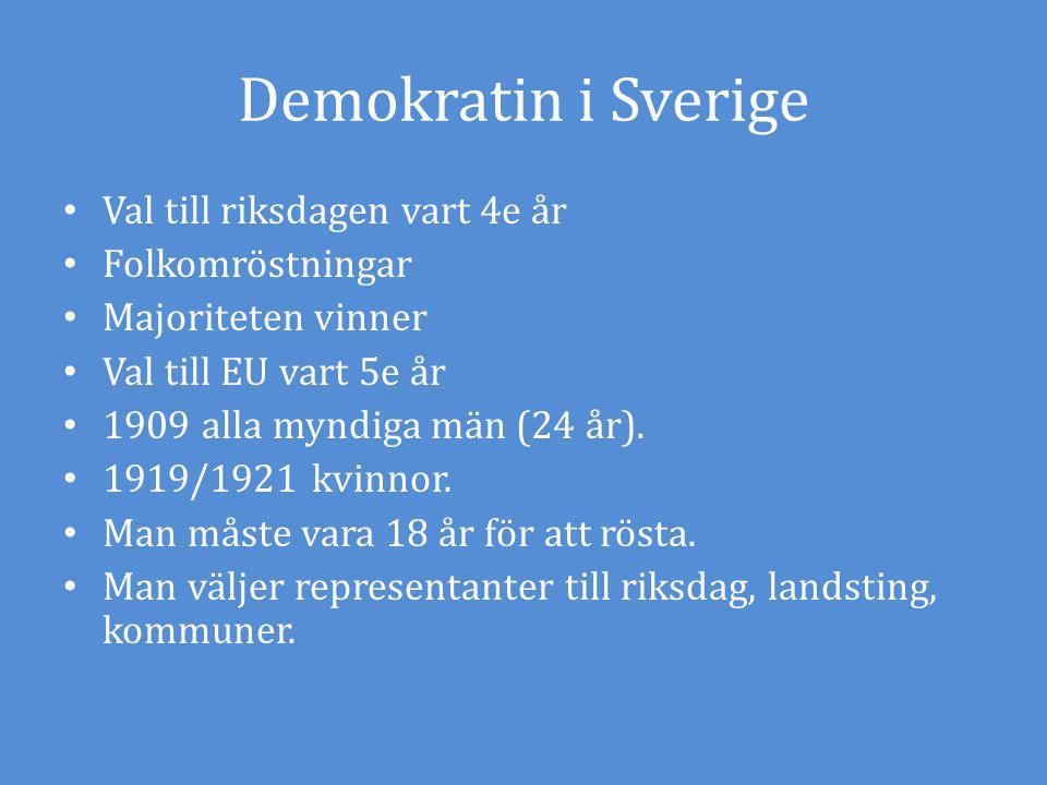 Demokratin i Sverige Val till riksdagen vart 4e år Folkomröstningar Majoriteten vinner Val till EU vart 5e år 1909 alla myndiga män (24 år). 1919/1921