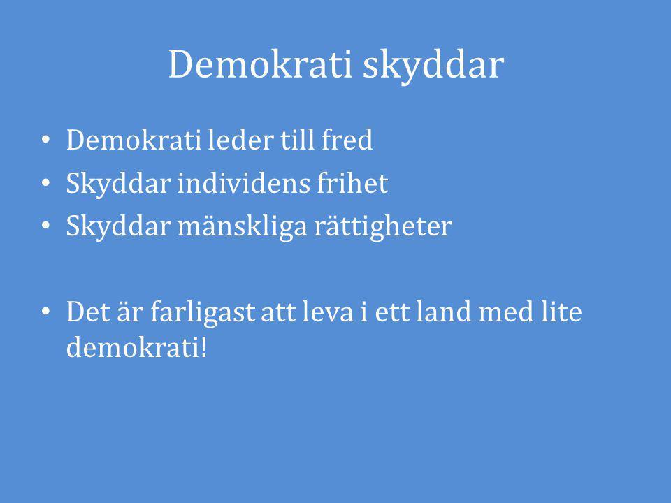 Demokrati skyddar Demokrati leder till fred Skyddar individens frihet Skyddar mänskliga rättigheter Det är farligast att leva i ett land med lite demo