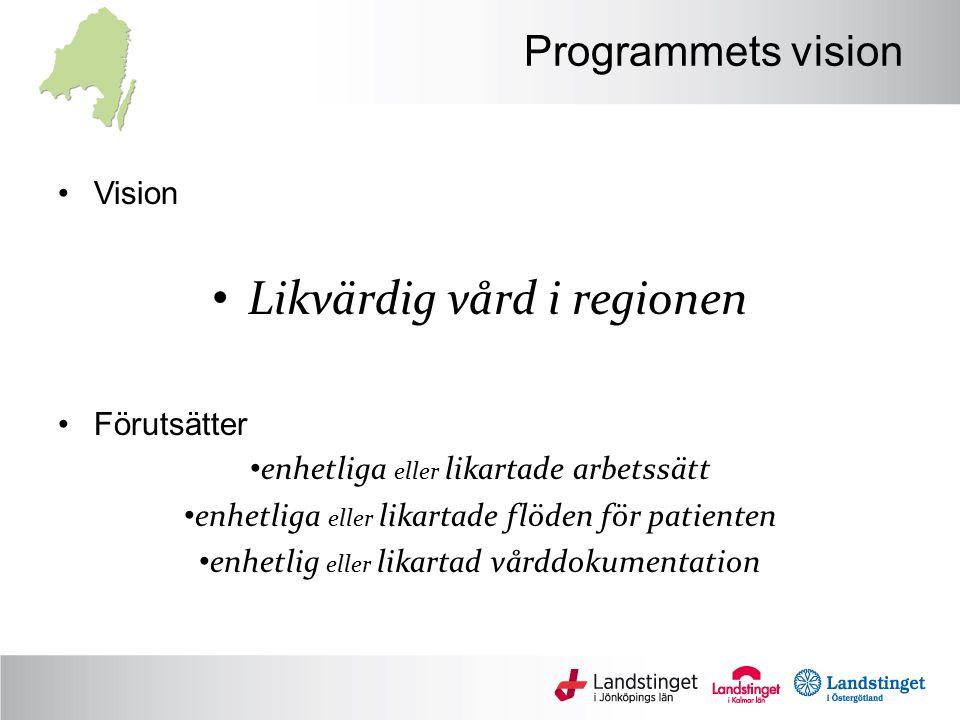 Programmets vision Vision Likvärdig vård i regionen Förutsätter enhetliga eller likartade arbetssätt enhetliga eller likartade flöden för patienten enhetlig eller likartad vårddokumentation