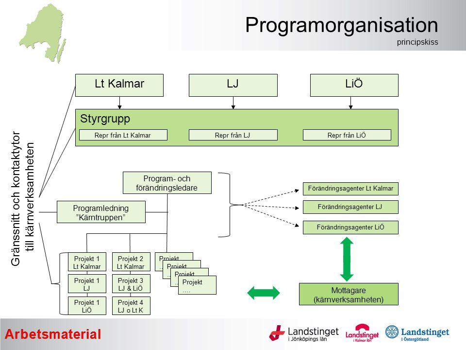 Programorganisation principskiss Lt Kalmar Styrgrupp LJLiÖ Repr från Lt KalmarRepr från LJRepr från LiÖ Program- och förändringsledare Programledning