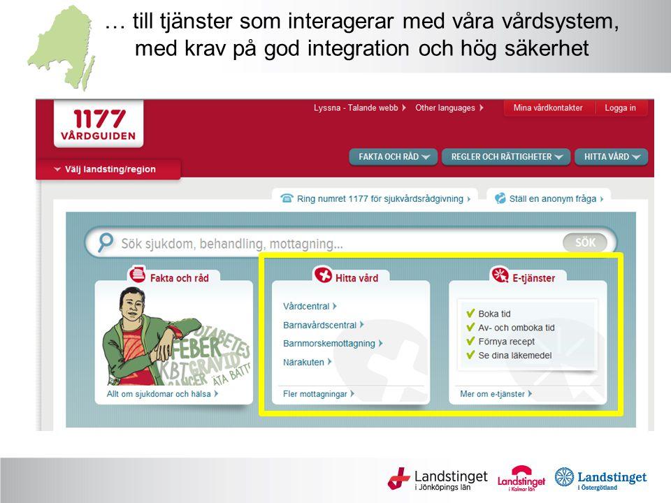 Ineras målbild för åtkomst till journal Lokala/nationella system PortalVårdsystem Journal Läkemedel Journal Läkemedel InvånareVårdpersonal Nationell Tjänsteplattform Tjänstekontrakt