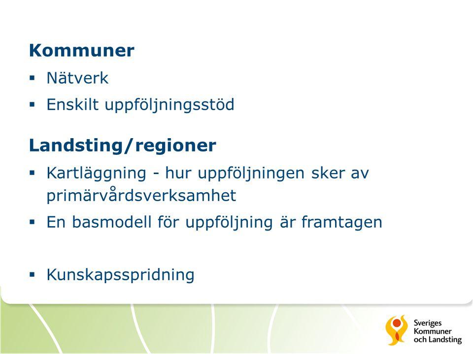 Kommuner  Nätverk  Enskilt uppföljningsstöd Landsting/regioner  Kartläggning - hur uppföljningen sker av primärvårdsverksamhet  En basmodell för u