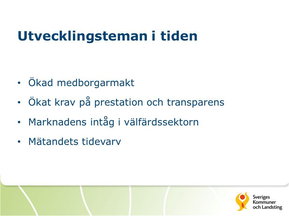 Utvecklingsteman i tiden Ökad medborgarmakt Ökat krav på prestation och transparens Marknadens intåg i välfärdssektorn Mätandets tidevarv