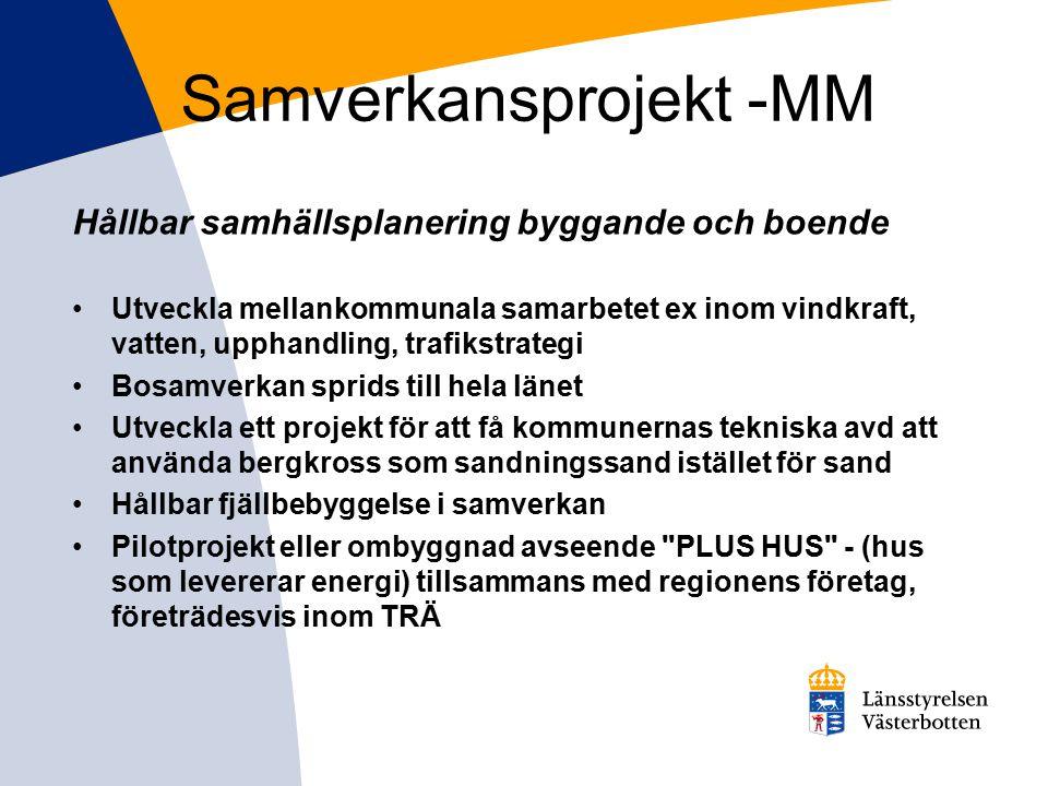 Samverkansprojekt -MM Hållbar samhällsplanering byggande och boende Utveckla mellankommunala samarbetet ex inom vindkraft, vatten, upphandling, trafik