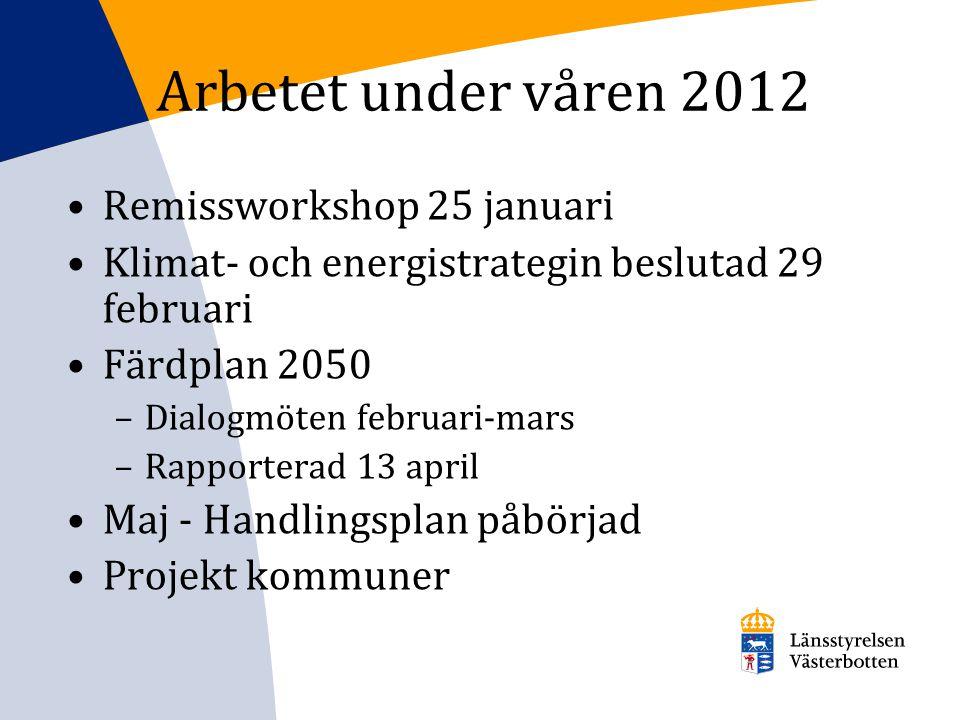 Arbetet under våren 2012 Remissworkshop 25 januari Klimat- och energistrategin beslutad 29 februari Färdplan 2050 –Dialogmöten februari-mars –Rapporte
