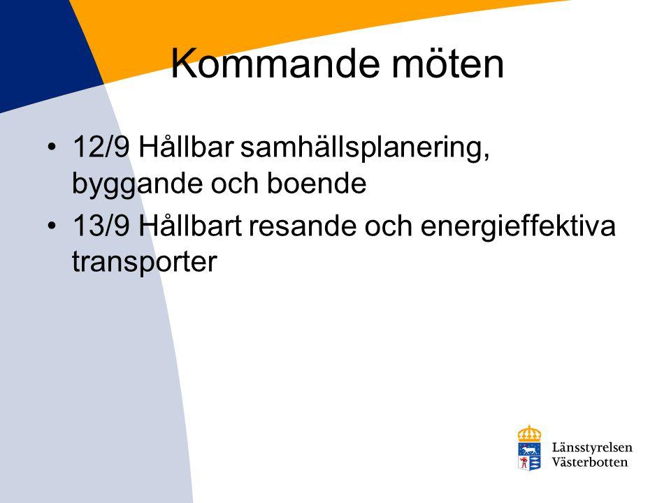 Kommande möten 12/9 Hållbar samhällsplanering, byggande och boende 13/9 Hållbart resande och energieffektiva transporter