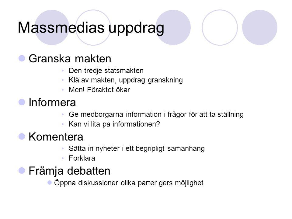 Massmedias uppdrag Granska makten Den tredje statsmakten Klä av makten, uppdrag granskning Men! Föraktet ökar Informera Ge medborgarna information i f