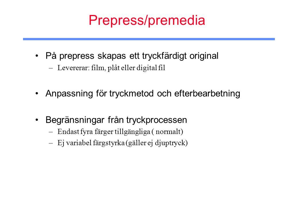 Prepress/premedia På prepress skapas ett tryckfärdigt original –Levererar: film, plåt eller digital fil Anpassning för tryckmetod och efterbearbetning Begränsningar från tryckprocessen –Endast fyra färger tillgängliga ( normalt) –Ej variabel färgstyrka (gäller ej djuptryck)