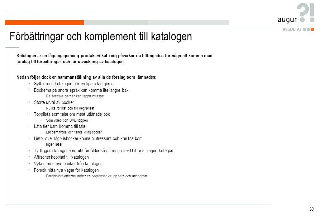 30 Förbättringar och komplement till katalogen Katalogen är en lågengagemang produkt vilket i sig påverkar de tillfrågades förmåga att komma med förslag till förbättringar och för utveckling av katalogen Nedan följer dock en sammanställning av alla de förslag som lämnades: Syftet med katalogen bör tydligare klargöras Böckerna på andra språk kan komma lite längre bak −De svenska barnen kan tappa intresset Större urval av böcker −Nu lite för litet och för begränsat Topplista som talar om mest utlånade bok −Som video och DVD toppen Låta fler barn komma till tals −Låt dem tycka och tänka kring böcker Listor över lågprisböcker känns ointressant och kan tas bort −Ingen läser Tydliggöra kategorierna utifrån ålder så att man direkt hittar sin egen kategori Affischer kopplad till katalogen Vykort med nya böcker från katalogen Försök hitta nya vägar för katalogen −Barnbibliotekarierna möter en begränsad grupp barn och ungdomar