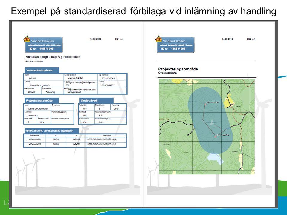 Exempel på standardiserad förbilaga vid inlämning av handling