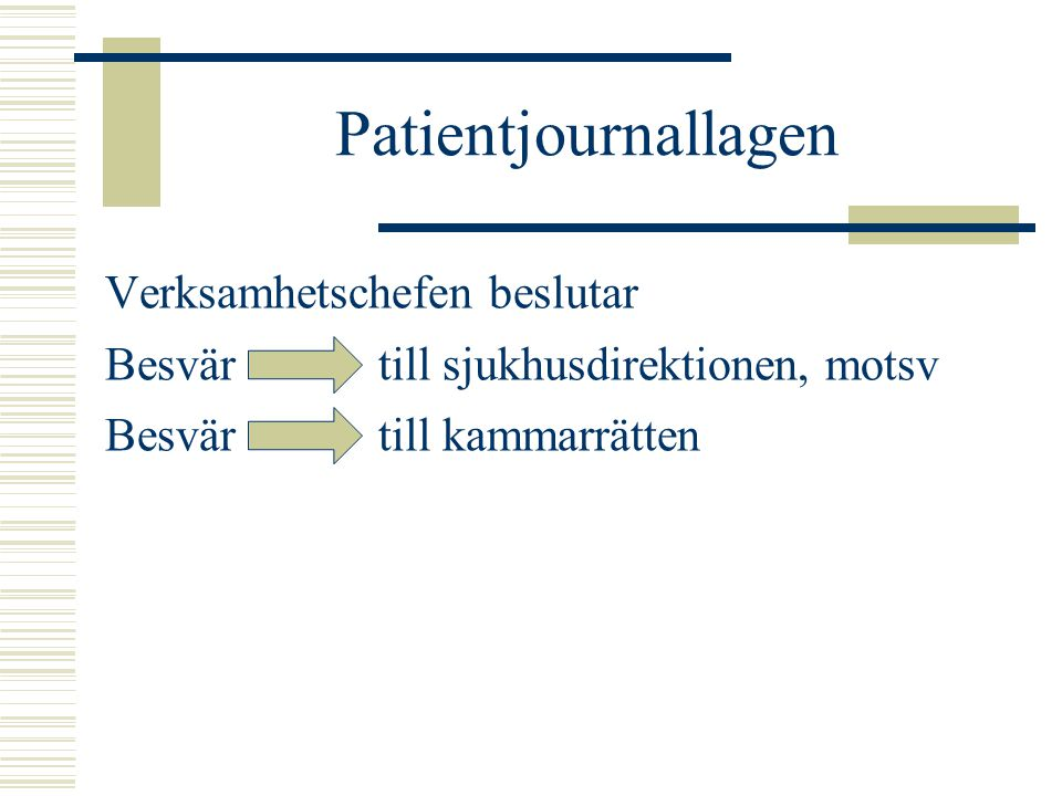 Patientjournallagen Verksamhetschefen beslutar Besvär till sjukhusdirektionen, motsv Besvär till kammarrätten