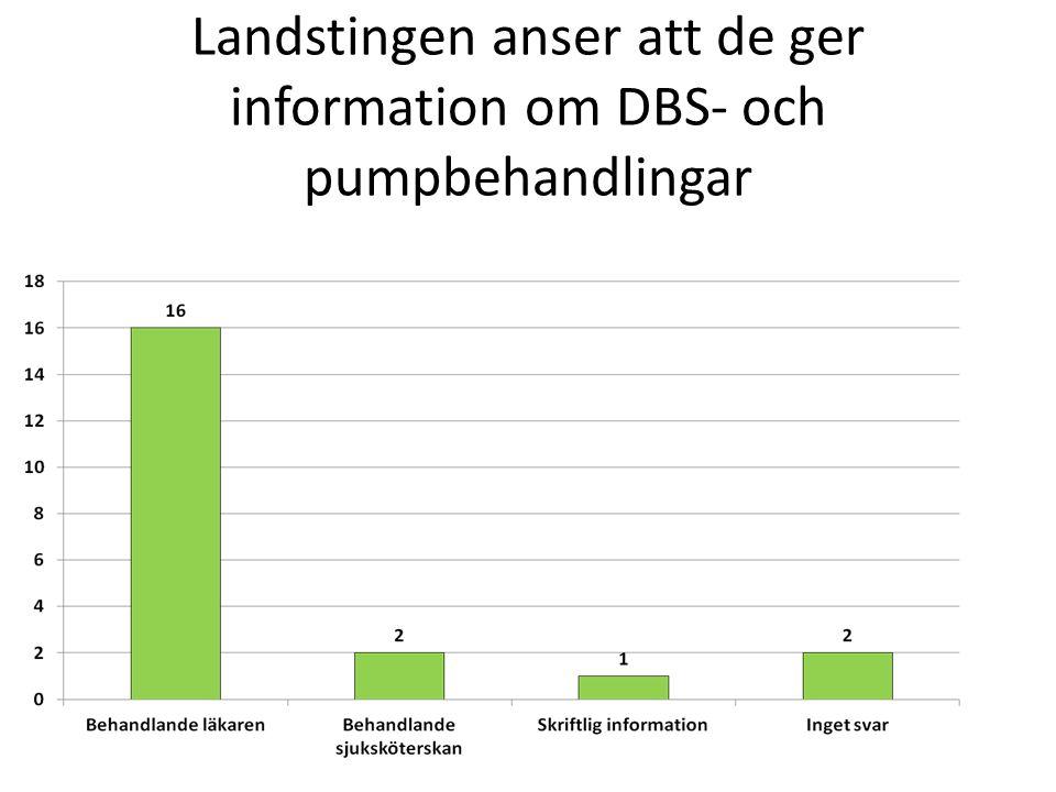 Landstingen anser att de ger information om DBS- och pumpbehandlingar