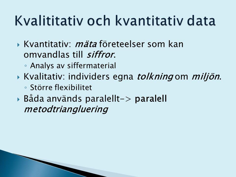  Kvantitativ: mäta företeelser som kan omvandlas till siffror. ◦ Analys av siffermaterial  Kvalitativ: individers egna tolkning om miljön. ◦ Större