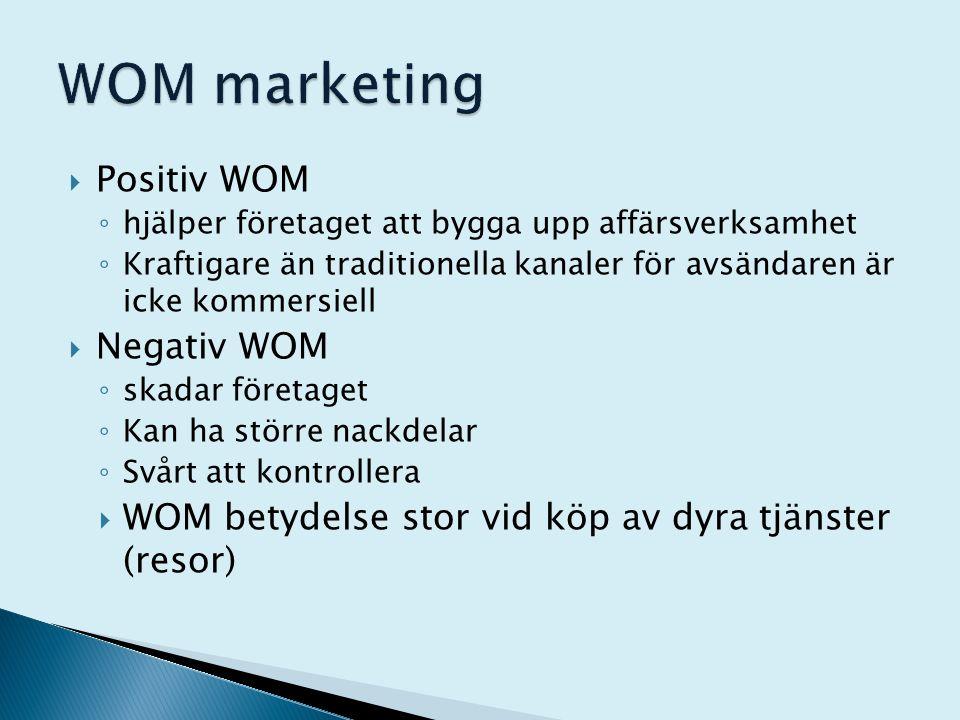  Positiv WOM ◦ hjälper företaget att bygga upp affärsverksamhet ◦ Kraftigare än traditionella kanaler för avsändaren är icke kommersiell  Negativ WO