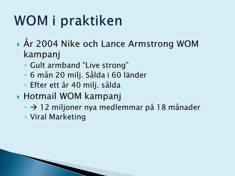 """ År 2004 Nike och Lance Armstrong WOM kampanj ◦ Gult armband """"Live strong"""" ◦ 6 mån 20 milj. Sålda i 60 länder ◦ Efter ett år 40 milj. sålda  Hotmail"""