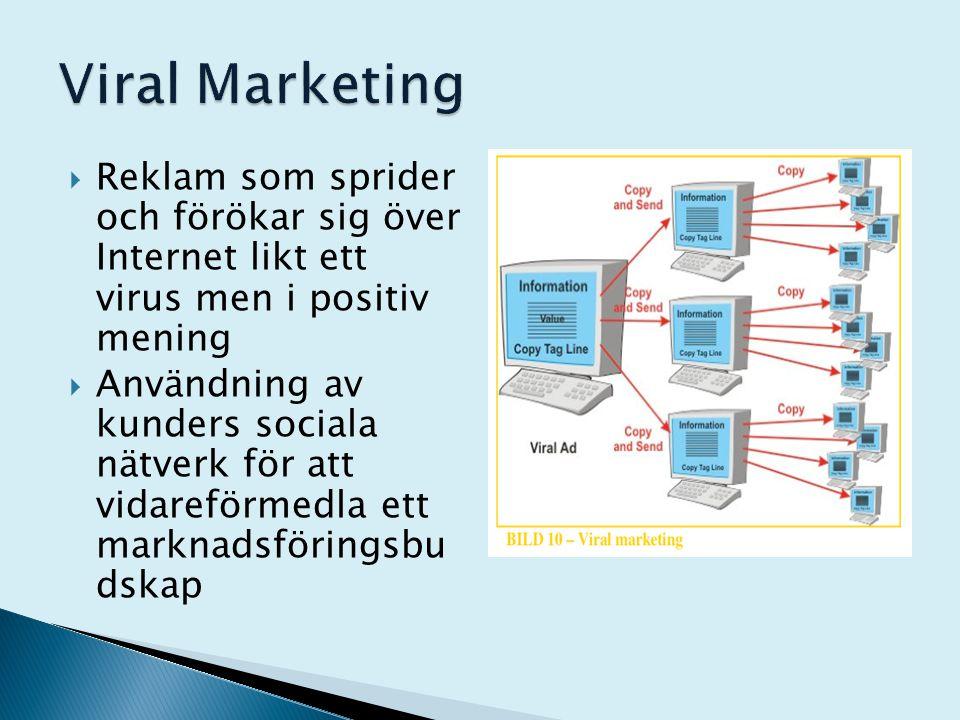  Reklam som sprider och förökar sig över Internet likt ett virus men i positiv mening  Användning av kunders sociala nätverk för att vidareförmedla