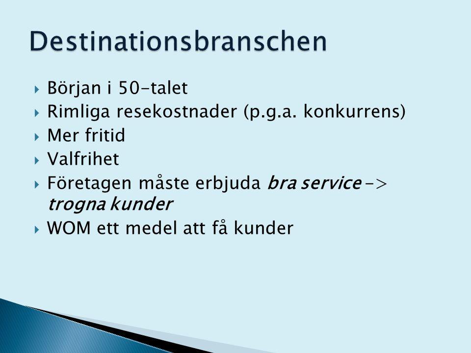  Början i 50-talet  Rimliga resekostnader (p.g.a. konkurrens)  Mer fritid  Valfrihet  Företagen måste erbjuda bra service -> trogna kunder  WOM