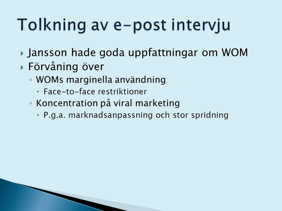  Jansson hade goda uppfattningar om WOM  Förvåning över ◦ WOMs marginella användning  Face-to-face restriktioner ◦ Koncentration på viral marketing