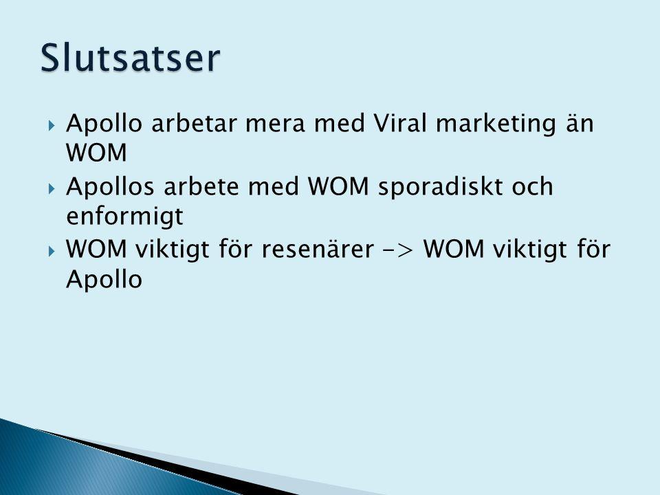  Apollo arbetar mera med Viral marketing än WOM  Apollos arbete med WOM sporadiskt och enformigt  WOM viktigt för resenärer -> WOM viktigt för Apol