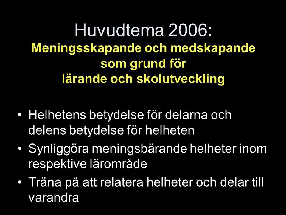 Huvudtema 2006: Meningsskapande och medskapande som grund för lärande och skolutveckling Helhetens betydelse för delarna och delens betydelse för helheten Synliggöra meningsbärande helheter inom respektive lärområde Träna på att relatera helheter och delar till varandra