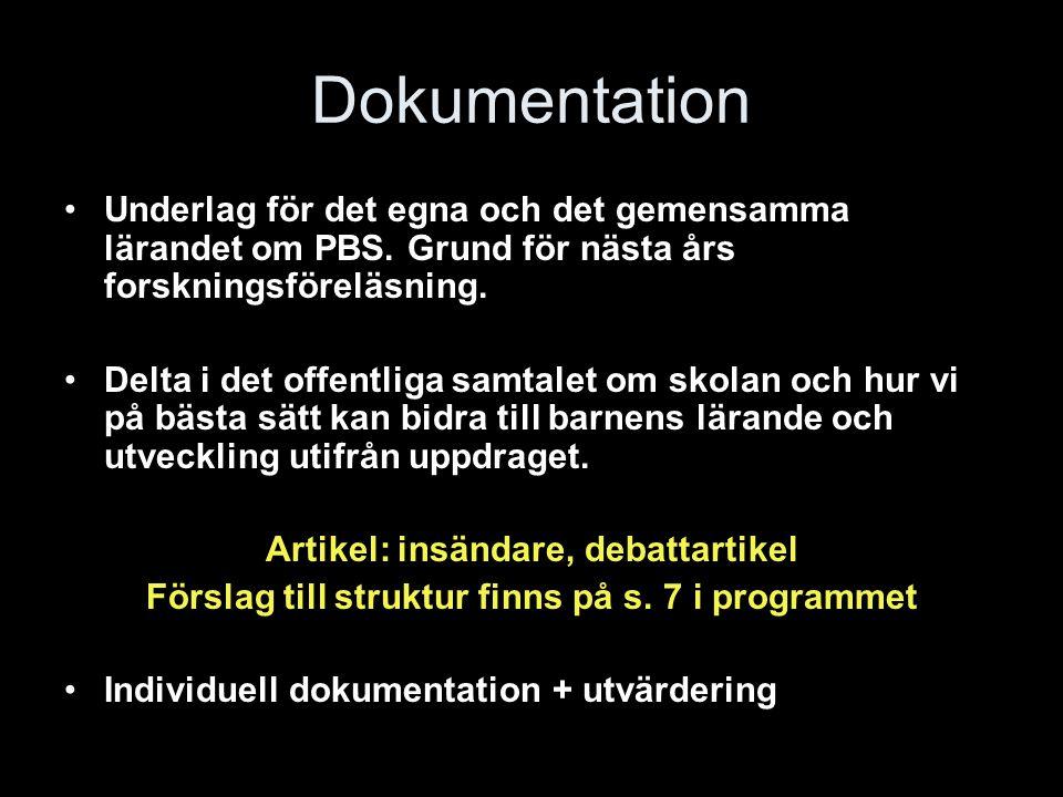 Dokumentation Underlag för det egna och det gemensamma lärandet om PBS.
