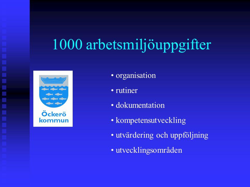 1000 arbetsmiljöuppgifter organisation rutiner dokumentation kompetensutveckling utvärdering och uppföljning utvecklingsområden