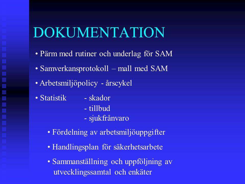 DOKUMENTATION Pärm med rutiner och underlag för SAM Samverkansprotokoll – mall med SAM Arbetsmiljöpolicy - årscykel Statistik- skador - tillbud - sjuk