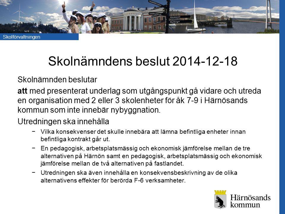 Skolförvaltningen Skolnämndens beslut 2014-12-18 Skolnämnden beslutar att med presenterat underlag som utgångspunkt gå vidare och utreda en organisation med 2 eller 3 skolenheter för åk 7-9 i Härnösands kommun som inte innebär nybyggnation.