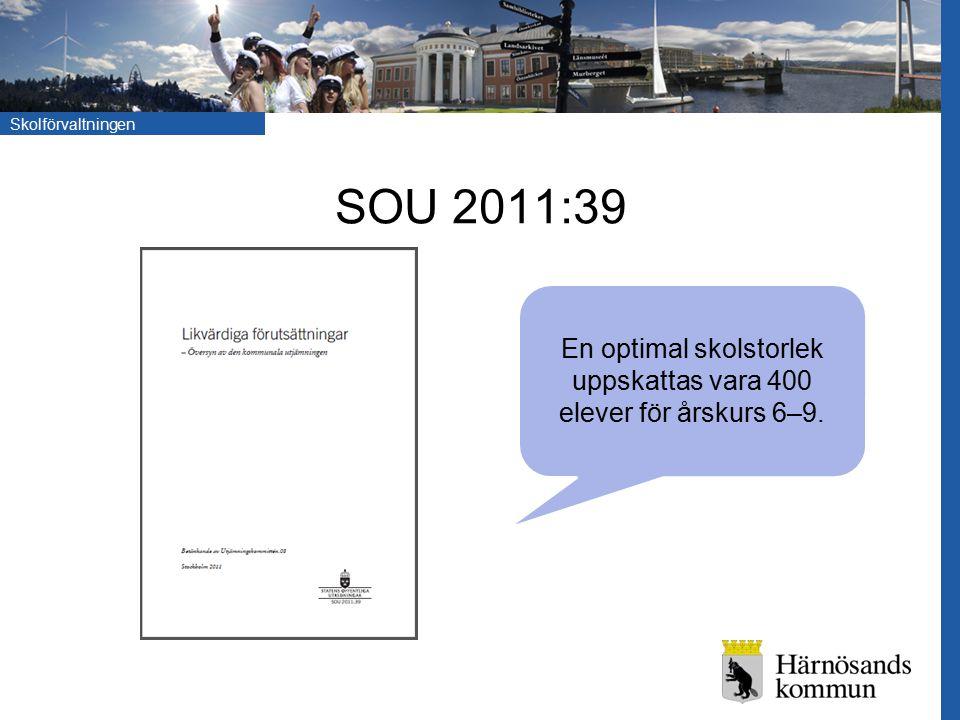 Skolförvaltningen SOU 2011:39 En optimal skolstorlek uppskattas vara 400 elever för årskurs 6–9.