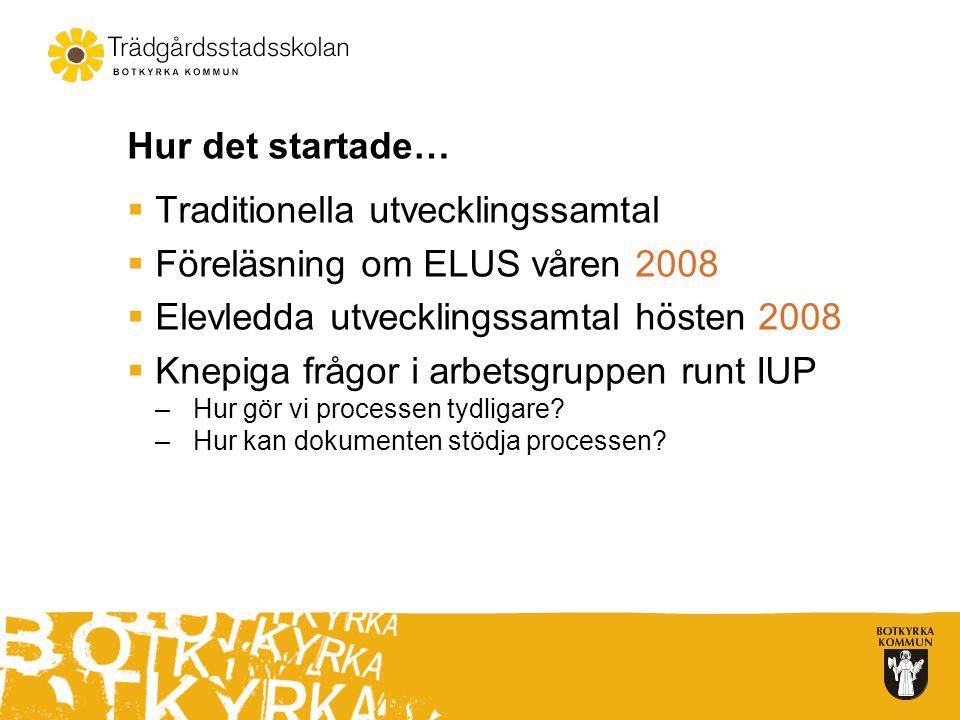 Hur det startade…  Traditionella utvecklingssamtal  Föreläsning om ELUS våren 2008  Elevledda utvecklingssamtal hösten 2008  Knepiga frågor i arbetsgruppen runt IUP –Hur gör vi processen tydligare.