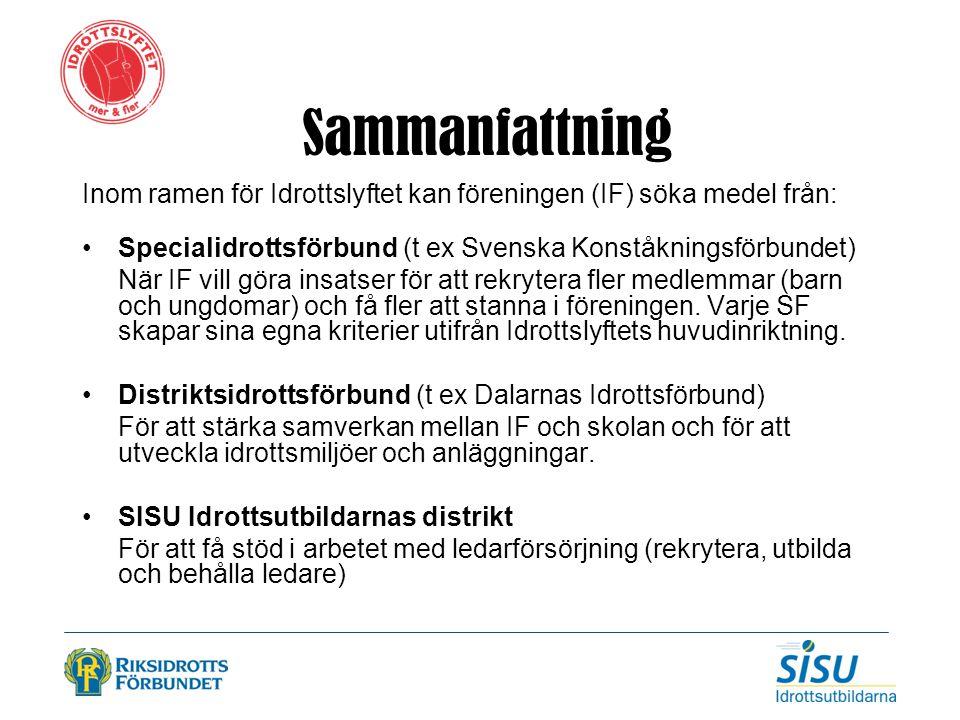 Sammanfattning Inom ramen för Idrottslyftet kan föreningen (IF) söka medel från: Specialidrottsförbund (t ex Svenska Konståkningsförbundet) När IF vil